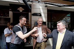 Bill Murray cheering with Simon Vadnjal and Peter X. Kelly at exclusive after-work get-together in the company of Slovenia Vodka on June 5, 2017 in Restaurant and Bar Atelje, Ljubljana, Slovenia. Photo by Matic Klansek Velej / Sportida