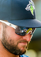 Columbia Fireflies left fielder Tim Tebow during a game at Spirit Communications Park on April 21, 2017. Photo by Jeff Blake/Jeff Blake Photography