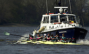 Putney. Greater London.  2003 Cambridge [CUBC]  practising starts, are rammed by the Harbour master's vessel, 'Westbourne'. injuring several athletes, and putting Wayne POMMEN out of the race. 149th Varsity University Boat Race - Tideway Week <br /> Friday 04.04/2003 [Mandatory Credit; Peter Spurrier/Intersport Images]<br /> Crew - Left to right. Bow Wayne Pommen, 2. Matthias Klienz,  3. Hugo Mallinson, 4. Kris Coventry, 5.  Alex McGarel-Groves, 6. Tom James, 7. James Livingstone,  stroke Tom Wooge, president and cox  Jim Omartian