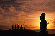 Sunset, Tahai Archeological site, restored 1968, Easter Island, Rapa Nui, Chile