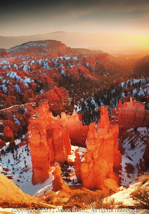 Winter sunrise over Bryce Canyon National Park, Utah.