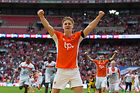 Blackpool's Brad Potts celebrates at the final whistle<br /> <br /> Photographer Craig Mercer/CameraSport<br /> <br /> The EFL Sky Bet League Two Play-Off Final - Blackpool v Exeter City - Sunday May 28th 2017 - Wembley Stadium - London<br /> <br /> World Copyright © 2017 CameraSport. All rights reserved. 43 Linden Ave. Countesthorpe. Leicester. England. LE8 5PG - Tel: +44 (0) 116 277 4147 - admin@camerasport.com - www.camerasport.com