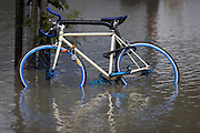 Abandoned bike in deep water after a burst water main closed the otherwise busy junction of Half Moon Lane and Dulwich Road in the south London area of Herne Hill. At about 5am, emergency crews were called when water inundated local homes and businesses, forcing residents to evacuate their properties and leave before electricity supplies were shut down.