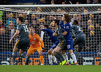 Football - 2018 / 2019 Premier League - Chelsea vs. Leicester City<br /> <br /> David Luiz (Chelsea FC) wraps his arms around Ben Chilwell (Leicester City) to prevent the attack at Stamford Bridge <br /> <br /> COLORSPORT/DANIEL BEARHAM