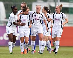 Birmingham City Ladies players congratulate Coral-Jade Haines on her goal - Mandatory by-line: Paul Knight/JMP - Mobile: 07966 386802 - 29/08/2015 -  FOOTBALL - Stoke Gifford Stadium - Bristol, England -  Bristol Academy Women v Birmingham City Ladies FC - FA WSL Continental Tyres Cup