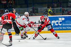 04.10.2019, Ice Rink, Znojmo, CZE, EBEL, HC Orli Znojmo vs EC KAC, 7. Runde, im Bild v.l. Michal Gago (HC Orli Znojmo) Siim Liivik (EC KAC) Philip McRae (HC Orli Znojmo) // during the Erste Bank Eishockey League 7th round match between HC Orli Znojmo and EC KAC at the Ice Rink in Znojmo, Czechia on 2019/10/04. EXPA Pictures © 2019, PhotoCredit: EXPA/ Rostislav Pfeffer