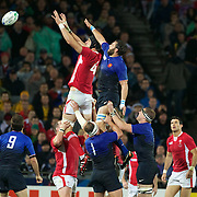 Luke Charteris, Wales, wins a line out during the Wales V France Semi Final match at the IRB Rugby World Cup tournament, Eden Park, Auckland, New Zealand, 15th October 2011. Photo Tim Clayton...