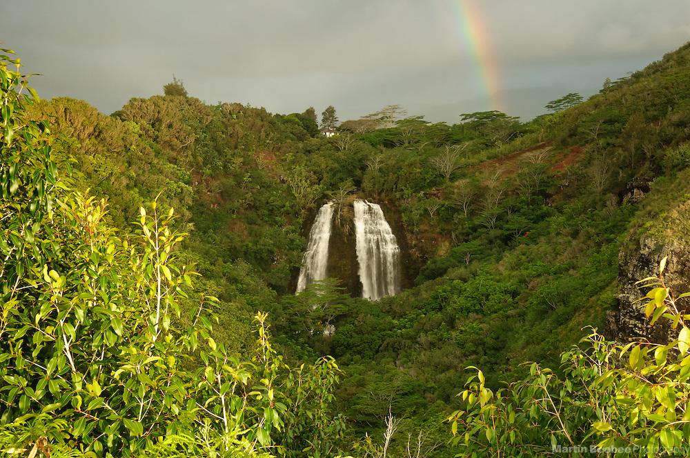 Rainbow over Opaeka'a Falls, Kauai, Hawaii