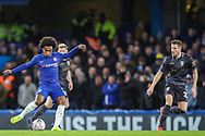 Chelsea midfielder Willian (22) takes a shot during the The FA Cup fourth round match between Chelsea and Sheffield Wednesday at Stamford Bridge, London, England on 27 January 2019.