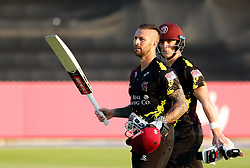 Somerset's Peter Trego with team-mate Tom Abell leave the pitch <br /> <br /> Photographer Simon King/Replay Images<br /> <br /> Vitality Blast T20 - Round 1 - Somerset v Gloucestershire - Friday 6th July 2018 - Cooper Associates County Ground - Taunton<br /> <br /> World Copyright © Replay Images . All rights reserved. info@replayimages.co.uk - http://replayimages.co.uk