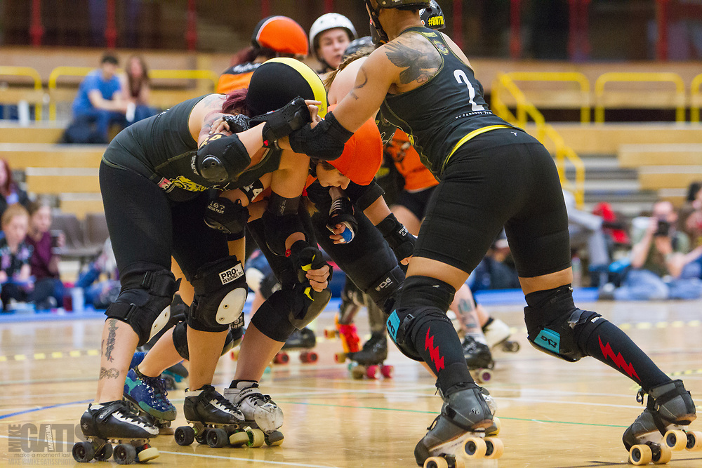 Tiger Bay Brawlers take on  Steel City Roller Derby's Steel Hurtin' in the opening bout of Euro Clash 2018 at the Walker Activity Dome, Newcastle Upon Tyne, United Kingdom, 2018-05-19