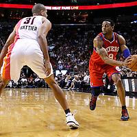 21 January 2012: Philadelphia Sixers small forward Andre Iguodala (9) looks to pass past Miami Heat small forward Shane Battier (31) during the Miami Heat 113-92 victory over the Philadelphia Sixers at the AmericanAirlines Arena, Miami, Florida, USA.