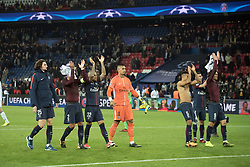 Team of PSG celebrates their qualification during the UEFA Champions League group B match between, Paris Saint-Germain (PSG) and Rsc Anderlecht at the Parc des Princes in Paris, France on October 31, 2017 .Paris Saint-Germain (PSG) won Rsc Anderlecht with 5-0. (Credit Image: © Jack Chan/Chine Nouvelle/Xinhua via ZUMA Wire)