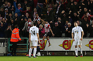 Shane Long of Southampton © celebrates after he scores his teams 1st goal. Premier league match, Swansea city v Southampton at the Liberty Stadium in Swansea, South Wales on Tuesday 31st January 2017.<br /> pic by  Andrew Orchard, Andrew Orchard sports photography.