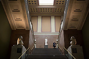 The South Stairs of the British Museum with the two lions that once adorned the Mausoleum of Halicarnassus now in Bodrum, Turkey and one of the Seven Wonders of the World, on 28th February 2017, in London, England.