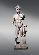 Roman statue of  Dioscuri. Marble. Perge. 2nd century AD. Inv no 2014/175. Antalya Archaeology Museum; Turkey. .<br /> <br /> If you prefer to buy from our ALAMY STOCK LIBRARY page at https://www.alamy.com/portfolio/paul-williams-funkystock/greco-roman-sculptures.html . Type -    Antalya     - into LOWER SEARCH WITHIN GALLERY box - Refine search by adding a subject, place, background colour, museum etc.<br /> <br /> Visit our ROMAN WORLD PHOTO COLLECTIONS for more photos to download or buy as wall art prints https://funkystock.photoshelter.com/gallery-collection/The-Romans-Art-Artefacts-Antiquities-Historic-Sites-Pictures-Images/C0000r2uLJJo9_s0