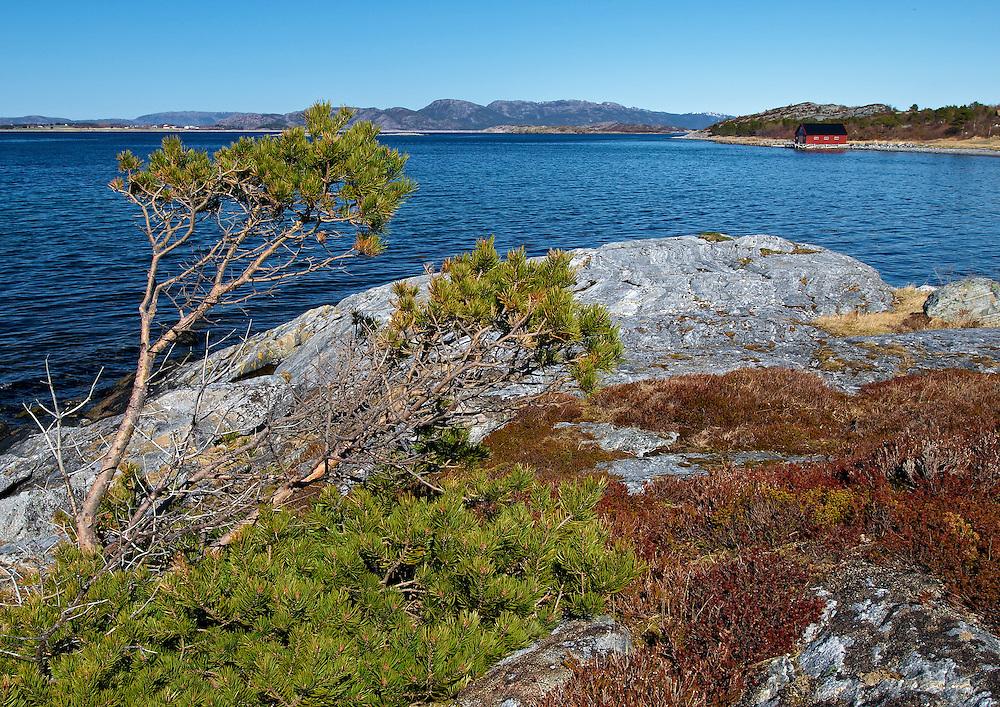 Norway - Red house on Sor Trondelag coastline
