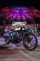 Roland Sand's custom Indian Chieftan sits outside the Wall of Death during Saturday nights reveal of the new 2015 Indian Scout during the Sturgis Black Hills Rally. Sturgis, SD, USA. August 2, 2014.  Photography ©2014 Michael Lichter.