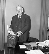 19th April 1961<br /> <br /> Budget Day, Minister of Finance Dr. James Ryan packs his budget into his brief case to present to the Dáil.