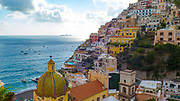 Colorful Buildings in Positano and Mediterranean Sea