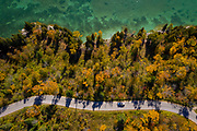 Fall drive through Cave Point County Park along the shore of Lake Michigan in Door County, Wisconsin. Photo by Mike Roemer
