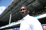 Jimmy Floyd Hasselbaink, the QPR manager looks on from touchline.  Skybet EFL championship match, Queens Park Rangers v Leeds United at Loftus Road Stadium in London on Sunday 7th August 2016.<br /> pic by John Patrick Fletcher, Andrew Orchard sports photography.