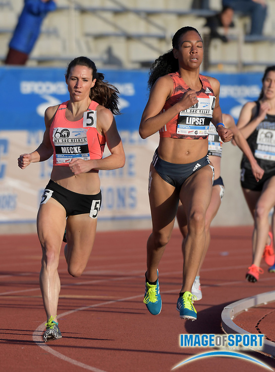 Apr 20, 2018; Torrance, CA, USA; Charlene Lipsey (right) and Dana Mecke place second and third in the invitational women's 1,500m in 4:16.64 and 4:17.41 during the 60th Mt. San Antonio College Relays at Murdock Stadium.