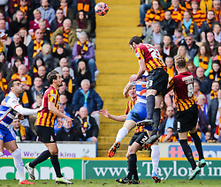 Bradford City's Rory McArdle challenges Reading's Pavel Pogrebnyak  - Photo mandatory by-line: Matt McNulty/JMP - Mobile: 07966 386802 - 07/03/2015 - SPORT - Football - Bradford - Valley Parade - Bradford City v Reading - FA Cup - Quarter Final