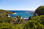 Maui, Hawaii. The black sand beach at Waianapanapa State Park in Hana, Maui, HI.