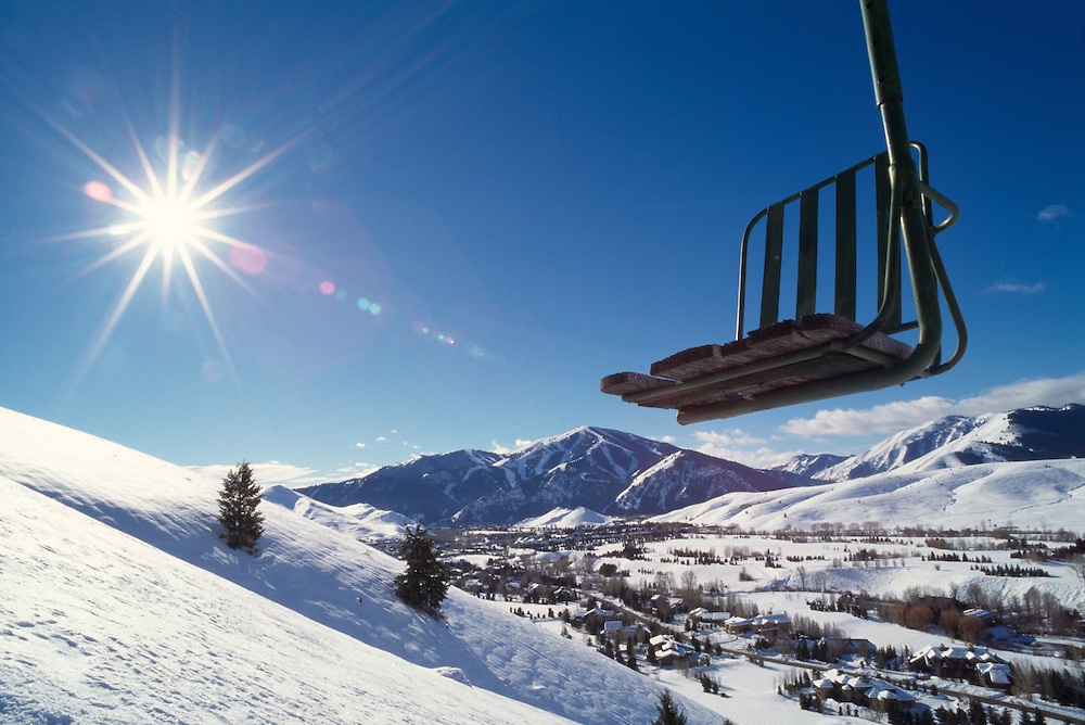 North America's First Chairlift on Ruud Mountain in Sun Valley, Idaho. Licensing Available - Rights Managed. Edition of 48 includes all sizes.