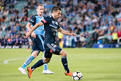 April 28, 2018 - Sydney, NSW, U.S. - SYDNEY, NSW - APRIL 28: Melbourne Victory forward Kosta Barbarouses (9) takes the ball downfield at the A-League Semi-Final Soccer Match between Sydney FC and Melbourne Victory on April 28, 2018 at Allianz Stadium in Sydney, Australia. (Photo by Speed Media/Icon Sportswire) (Credit Image: © Speed Media/Icon SMI via ZUMA Press)