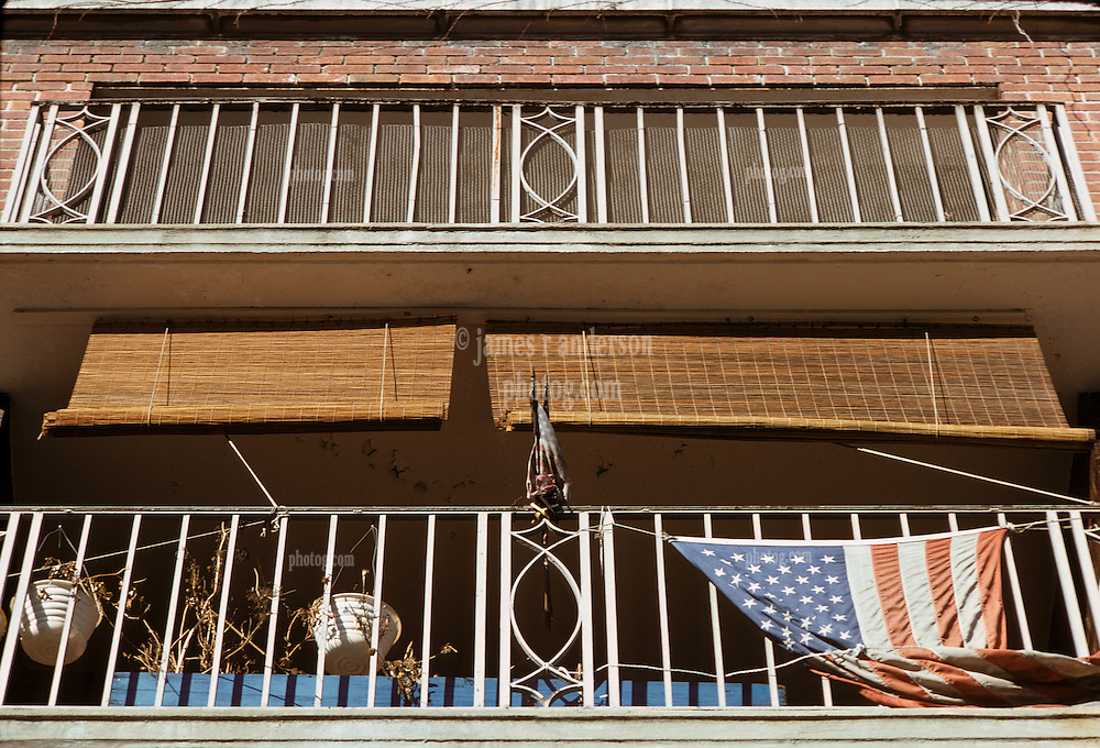 A Balcony with Flags in Greenwich Village, New York City, February 25, 1976