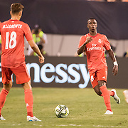 MEADOWLANDS, NEW JERSEY- August 7:  Vinícius Júnior #28 of Real Madrid and Marcos Llorente #18 of Real Madrid in action during the Real Madrid vs AS Roma International Champions Cup match at MetLife Stadium on August 7, 2018 in Meadowlands, New Jersey. (Photo by Tim Clayton/Corbis via Getty Images)