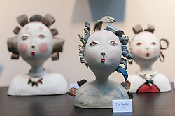 © Licensed to London News Pictures. 08/04/2016. London, UK. Works by Midori Takaki on show. The leading international fair for contemporary ceramics, Ceramic Art London 2016, opens at its new venue of Central Saint Martins, King's Cross.  88 emerging and established ceramicists from around the world are presenting and their latest works for sale to the public with prices ranging from £30 to £10,000. Photo credit : Stephen Chung/LNP