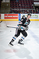 KELOWNA, CANADA - OCTOBER 23: Cal Foote #25 of Kelowna Rockets warms up against the Prince George Cougars on October 23, 2015 at Prospera Place in Kelowna, British Columbia, Canada.  (Photo by Marissa Baecker/Shoot the Breeze)  *** Local Caption *** Cal Foote;