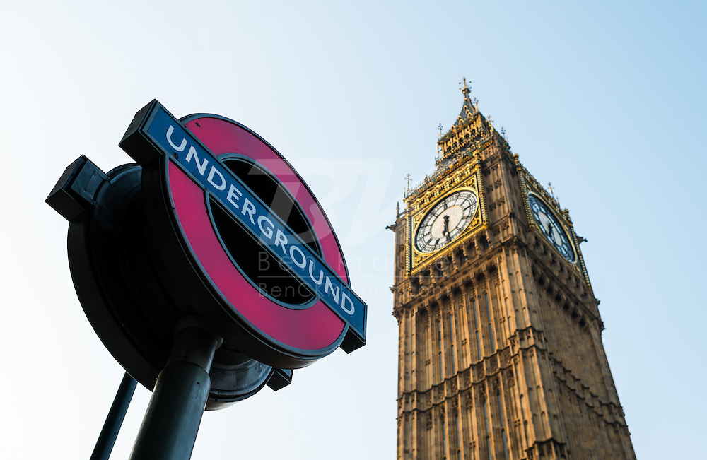 A sign for the London Underground tube near Big Ben in London, England on May 24, 2012.