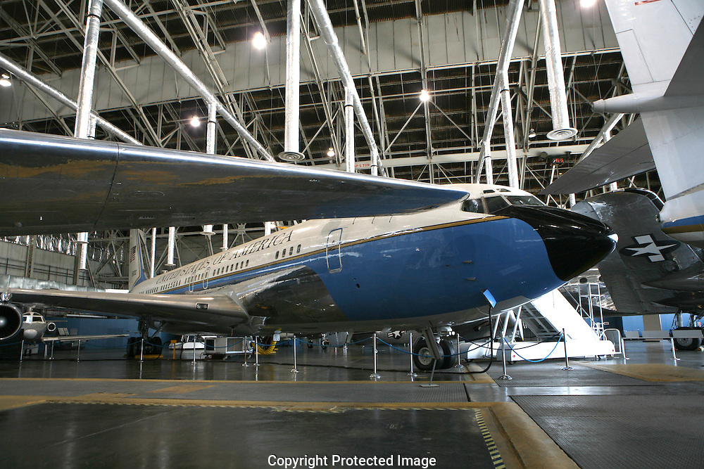 Air Force One  2700, a Boeing 707 which was the presidential aircraft that carried President Kennedy's body back from Dallas,Texas after the assassination.  Now at Wright Patterson Air Force Base.  Photo by Dennis Brack