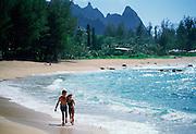Couple on Beach, Kauai, Hawaii<br />