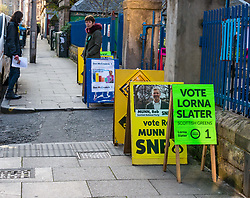 Leith, Edinburgh, Scotland, United Kingdom, 11 April 2019. Leith Walk Council By-Election:  One of the polling stations at Lorne Primary School, with SNP activist Sean, and Scottish Green activist Jenny waiting to greet voters. The election is taking place as a result of the resignation of Councillor Marion Donaldson. The election fields 11 candidates, including the first ever candidate for the For Britain Movement in Scotland, Paul Stirling.  The For Britain was founded by former UKIP leadership candidate Anne Marie Waters in March 2018. <br /> <br /> Sally Anderson/ Edinburgh Elite Media