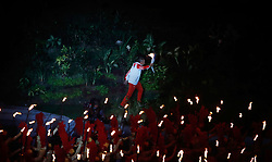 JAKARTA, Aug. 18, 2018  A torchbearer enters the Gelora Bung Karno (GBK) Main Stadium at the opening ceremony of the 18th Asian Games in Jakarta, Indonesia, Aug. 18, 2018. (Credit Image: © Wang Lili/Xinhua via ZUMA Wire)