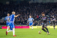 Brighton and Hove Albion (2) Bruno, Crystal Palace #11 Wilfried Zaha during the Premier League match between Brighton and Hove Albion and Crystal Palace at the American Express Community Stadium, Brighton and Hove, England on 28 November 2017. Photo by Sebastian Frej.