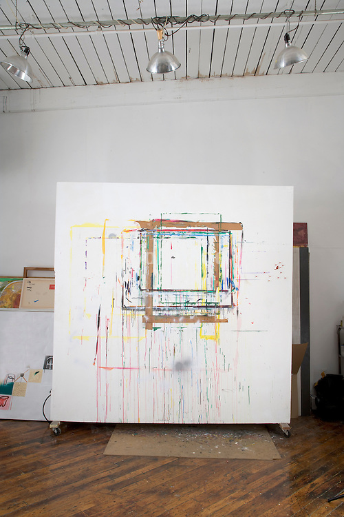 movable painting wall in the studio of an painter artist