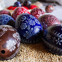 Carved eggs are on display prepared by a craftman following the Hungarian traditions in the Skanzen open air folk museum in Szentendre, Hungary on April 08, 2012. ATTILA VOLGYI