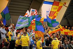 21-02-2008 VOLLEYBAL: CHAMPIONS LEAGUE: DELA MARTINUS - WINIARY BAKALLAND KALISZ: AMSTELVEEN<br /> Martinus wint met 3-0 / Publiek toeschouwers support vlaggen<br /> ©2008-WWW.FOTOHOOGENDOORN.NL