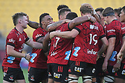 Crusaders players celebrate a golden point win in the Super Rugby match, Hurricanes v Crusaders, Sky Stadium, Wellington, Sunday, April 11, 2021. Copyright photo: Kerry Marshall / www.photosport.nz