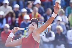 April 21, 2018 - La Manga, Murcia, Spain - Garbine Muguruza of Spain serves in her match against Montserrat Gonzalez of Paraguay during day one of the Fedcup World Group II Play-offs match between Spain and Paraguay at Centro de Tenis La Manga Club on April 21, 2018 in La Manga, Spain  (Credit Image: © David Aliaga/NurPhoto via ZUMA Press)