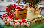 Garlic and tomatoes in Forio on the island of Ischia in Italy