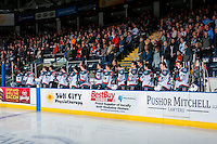 KELOWNA, CANADA - FEBRUARY 10: The Kelowna Rockets stand on the bench during the national anthem against the Vancouver Giants on February 10, 2017 at Prospera Place in Kelowna, British Columbia, Canada.  (Photo by Marissa Baecker/Shoot the Breeze)  *** Local Caption ***