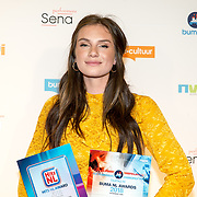 NLD/Utrecht/20181001 - Buma NL Awards 2018, Maan de Steenwinkel  nemen de Award Meest Succesvolle Single - Urban in ontvangst
