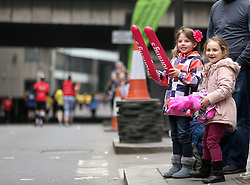 Young fans cheer on the runners during the 2018 London Landmarks Half Marathon. PRESS ASSOCIATION Photo. Picture date: Sunday March 25, 2018. Photo credit should read: Steven Paston/PA Wire